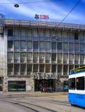 在Talacker街道上的瑞银办公室在苏黎世 库存图片
