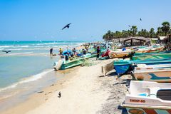 在Talaimannar海滩的Fishermans 免版税库存照片