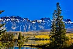 在Talbot湖的秋天在贾斯珀国家公园 库存照片