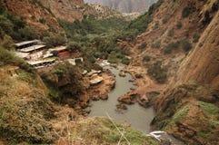 在Tanaghmeilt村庄,盛大地图集,摩洛哥附近的Ouzoud瀑布 免版税库存照片