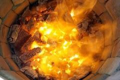 在tandoor烤箱的火木头 库存图片