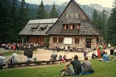 在Tatra山的山瑞士山中的牧人小屋 库存图片