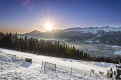 在Tatra山的日出-从Gubalowka的看法 库存图片