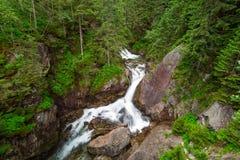 在Tatra山的Wodogrzmoty Mickiewicza瀑布 免版税库存照片