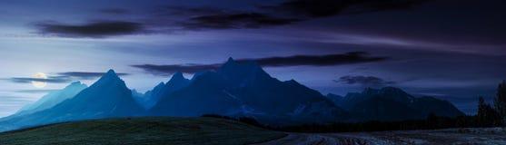 在Tatra山附近的农村领域在晚上 库存照片