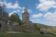 在Taunus,黑森,德国防御废墟Falkenstein 免版税图库摄影