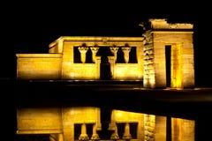 在Templo de Debod的晚上在马德里 库存照片