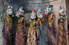 在tenganan村庄巴厘岛印度尼西亚木偶文化的Wayang 图库摄影