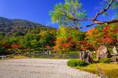 在tenryu籍寺庙湖的秋天  库存图片