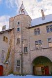 在Th后,典型的方形的计划Gruyeres城堡修造了 免版税库存照片