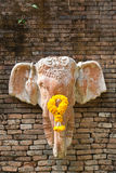 在tha墙壁上的顶头大象雕象 免版税图库摄影
