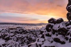 在Thingvellir国家公园的日出 免版税库存图片