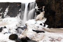 在Thingvellir,冰岛的Öxarárfoss瀑布 免版税图库摄影