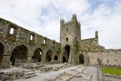 在Thomastown,基尔肯尼郡,爱尔兰附近的Jerpoint修道院 库存图片