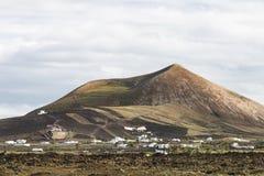在Tias附近的蒙大拿布朗卡在兰萨罗特岛,西班牙 图库摄影