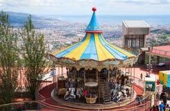 在Tibidabo游乐园的转盘 免版税库存照片