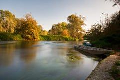 在Ticino河的日落 图库摄影