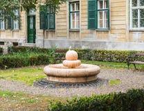 在Timotei Popovich街道的装饰喷泉在锡比乌市在罗马尼亚 免版税库存图片