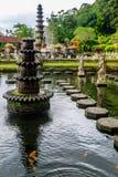 在Tirta Gangga水宫殿,巴厘岛,印度尼西亚的喷泉 免版税库存图片