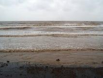 在Tithal海滩, Valsad,古杰拉特的美丽的海滨 免版税库存照片