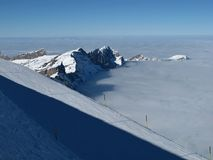 在Titlis的滑雪倾斜,山 免版税库存图片