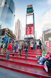 在TKTS摊时代广场的红色步 图库摄影