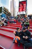 在TKTS摊时代广场的红色步 免版税库存图片