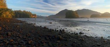 在Tofino入口Mudflats, Tofino,温哥华岛,加拿大的清早光 库存照片