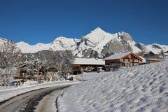 在Toggenburg谷的冬天风景 图库摄影