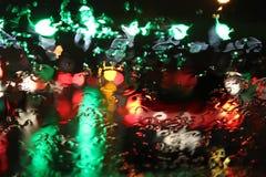 在tollboot的交通堵塞在雨中 库存照片