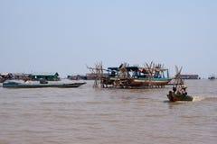 在Tonle Sap湖的生活。柬埔寨 免版税库存照片