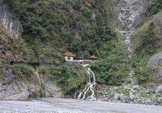 在Toroko国家公园的中国寺庙在花莲,台湾 图库摄影