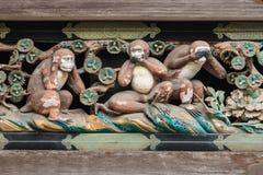 在Toshogu寺庙,日光的三只明智的猴子 库存图片