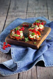 在tostones或油煎的大蕉,开胃菜的三文鱼ceviche 库存照片