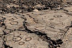 在Trail,小纳,夏威夷国王的火山岩雕刻的刻在岩石上的文字 库存图片