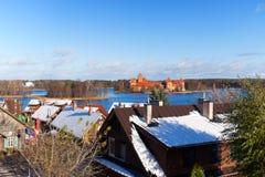 在Trakai城堡的视图 图库摄影