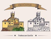 在Trakoscan老城堡例证的外视图 葡萄酒中世纪建筑学标志或宫殿横幅,豪宅商标或 库存照片