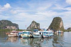 在Trang停住的游船 免版税库存图片