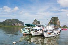 在Trang停住的游船 免版税库存照片