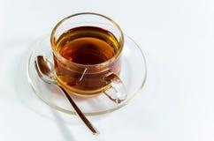 在transparant杯子的热的茶 免版税库存图片