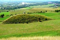 在Transylvanian高原,罗马尼亚的凯尔特坟茔,在索娜村庄,布拉索夫县 免版税库存图片