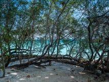 在Trat泰国的美丽的蓝色海海滩 图库摄影