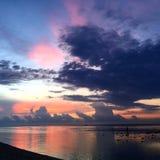 在travangan的gili的日落 免版税图库摄影