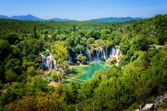 在Trebizat河的Kravice瀑布在波黑 库存图片