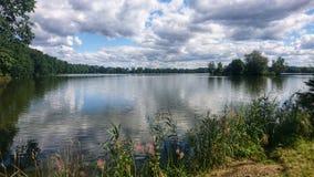 在Trebon附近的池塘视图 免版税库存图片