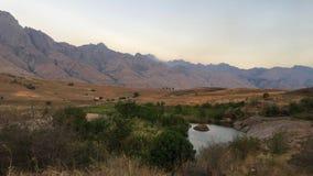 在Tsaranoro谷的日落在Andringitra国家公园在马达加斯加 免版税库存照片