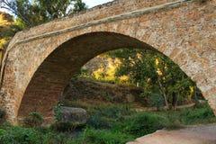 在Tuejar河的石桥梁 库存照片