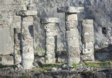 在Tulum,墨西哥附近的玛雅废墟 库存图片