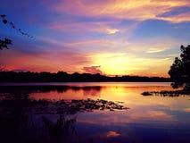 在Turkey湖的日落 免版税图库摄影