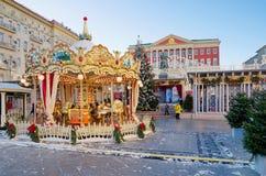 在Tverskaya的圣诞节和新年假日在莫斯科,俄罗斯摆正 库存图片
